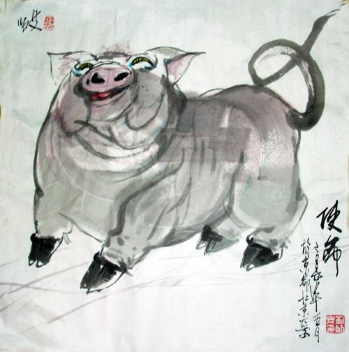 儿童动物画猪