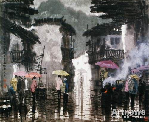 古镇雨 145×180cm  2004年