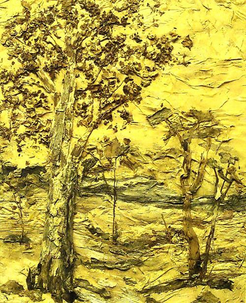 桉树皮贴水晶画《桉树景色》.